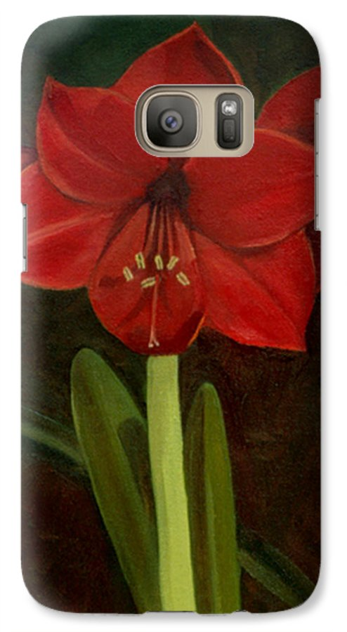 Amaryllis Galaxy S7 Case featuring the painting Amaryllis by Nancy Griswold