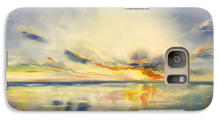 Blue Galaxy S7 Case featuring the painting Blue Sunset by Gina De Gorna
