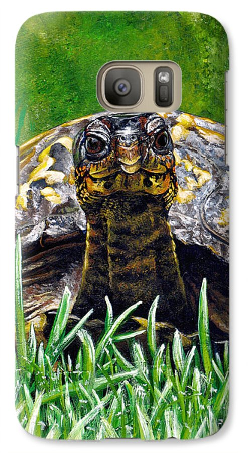 Turtle Galaxy S7 Case featuring the painting Smile by Cara Bevan