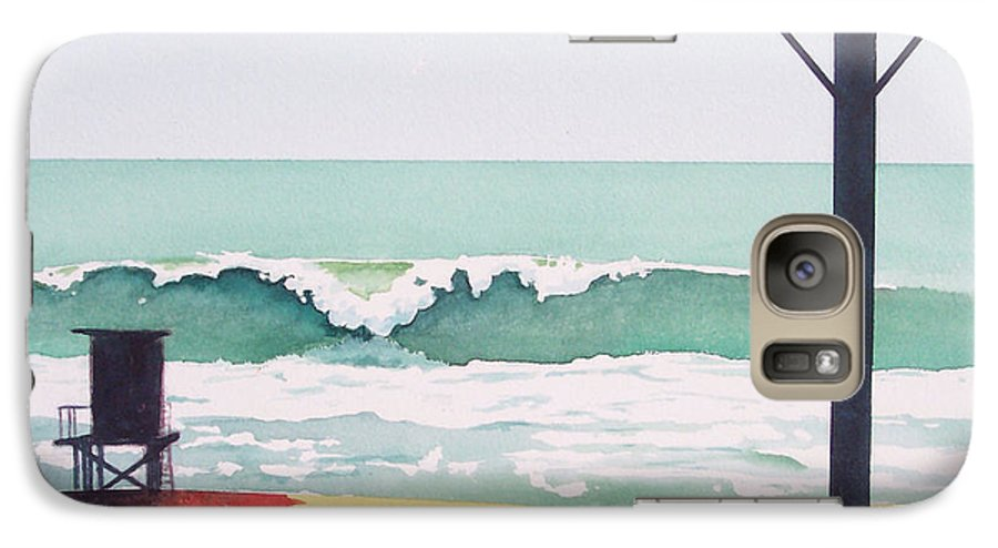 Surf Galaxy S7 Case featuring the painting 14th Street Huntington Beach by Philip Fleischer