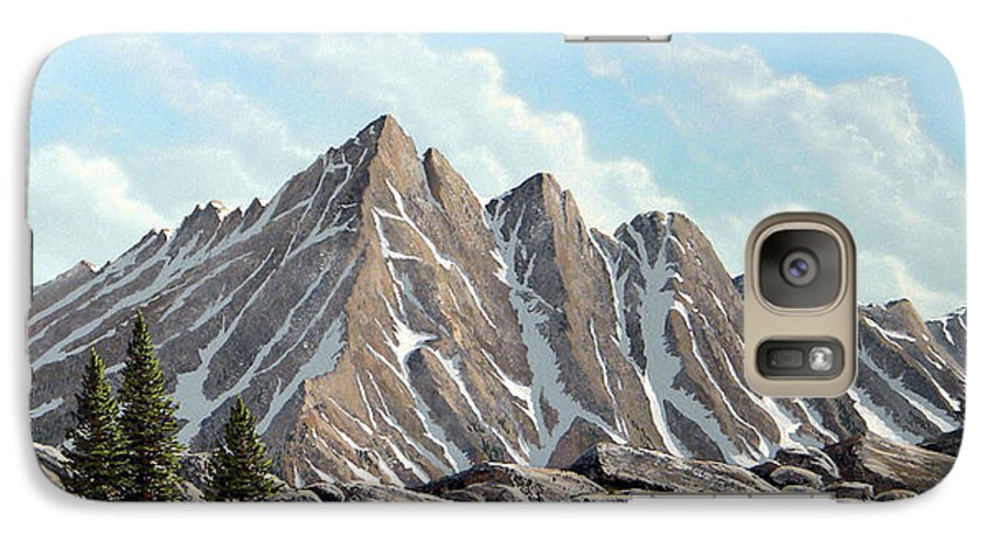 Landscape Galaxy S7 Case featuring the painting Lofty Peaks by Frank Wilson