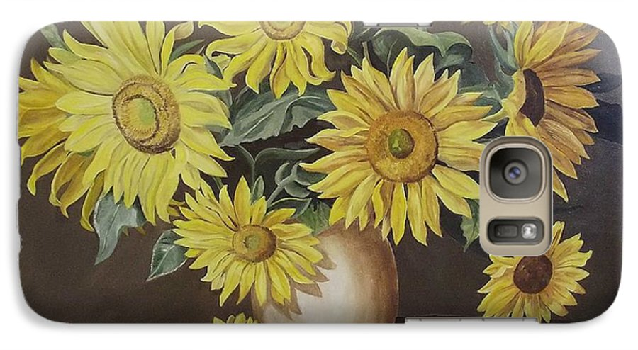 Flowers Galaxy S7 Case featuring the painting Sunshine And Sunflowers by Wanda Dansereau