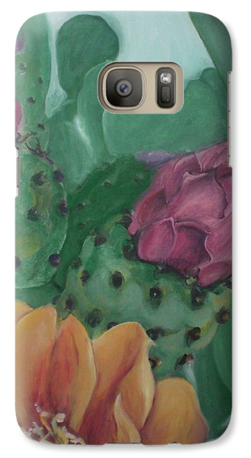 Yellow Galaxy S7 Case featuring the painting Yellow Cactus Blossom by Aleksandra Buha