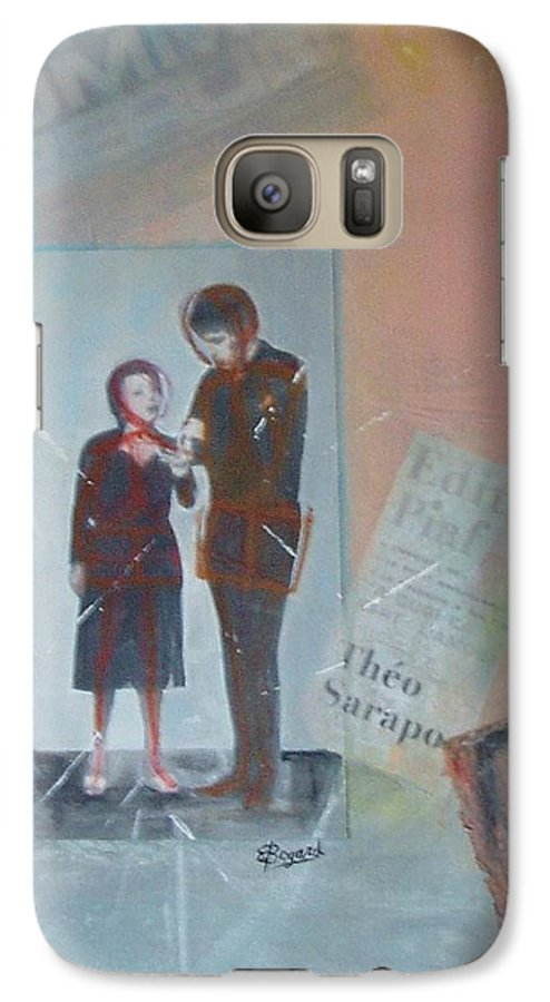 Edith Piaf Galaxy S7 Case featuring the mixed media A Cuoi Ca Sert L'mour Or What Else Is There But Love by Elizabeth Bogard