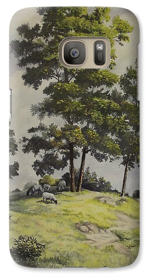 Landscape Galaxy S7 Case featuring the painting A Lazy Day For Grazing by Wanda Dansereau
