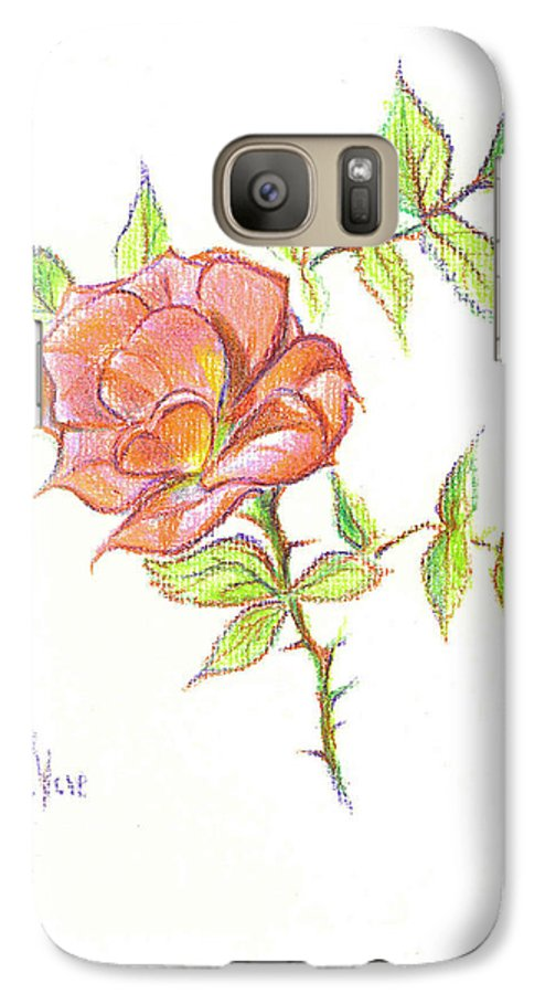 A Rose In Brigadoon Galaxy S7 Case featuring the drawing A Rose In Brigadoon by Kip DeVore