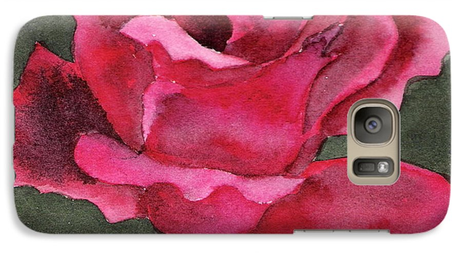 Rose Flower Red Painting Watercolor Still Life Galaxy S7 Case featuring the painting A Rose Is A Rose by Marsha Woods