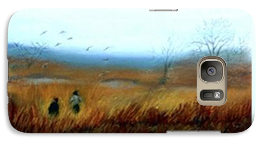 Figures Galaxy S7 Case featuring the painting A Winter Walk by Gail Kirtz