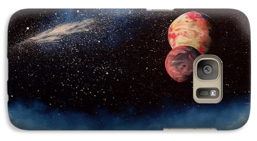 Landscape Galaxy S7 Case featuring the painting Above Alien Clouds by Murphy Elliott