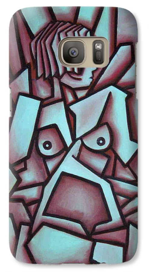 Abstact Galaxy S7 Case featuring the painting Abstract Girl by Thomas Valentine