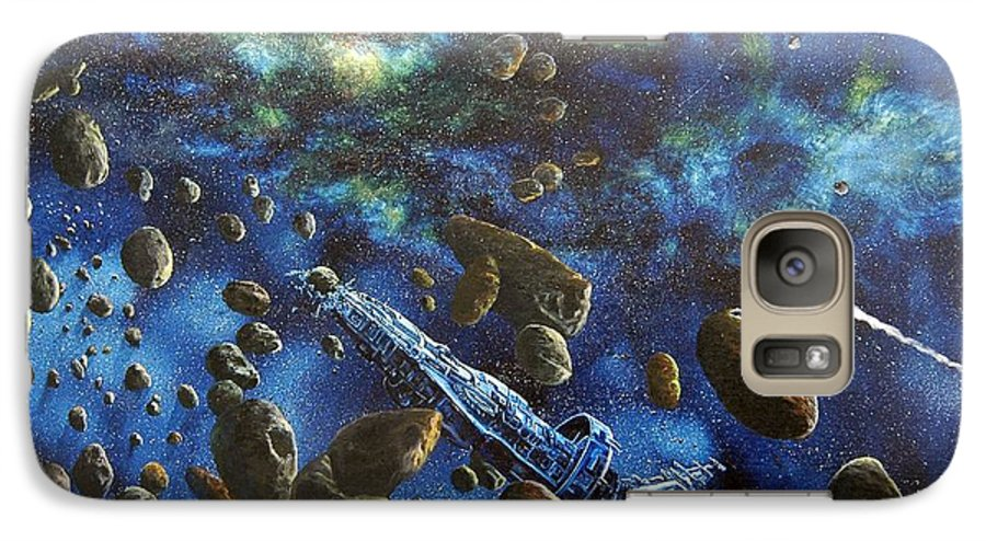 Canvas Galaxy S7 Case featuring the painting Accidental Asteroid by Murphy Elliott