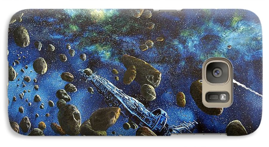 Astro Galaxy S7 Case featuring the painting Accidental Asteroid by Murphy Elliott