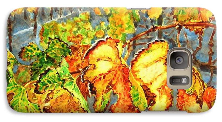 Vineyard Galaxy S7 Case featuring the painting After The Harvest by Karen Ilari
