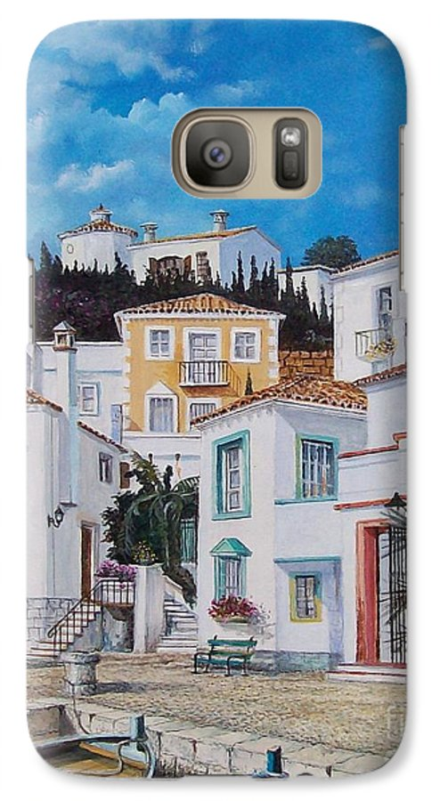 Cityscape Galaxy S7 Case featuring the painting Afternoon Light In Montenegro by Sinisa Saratlic