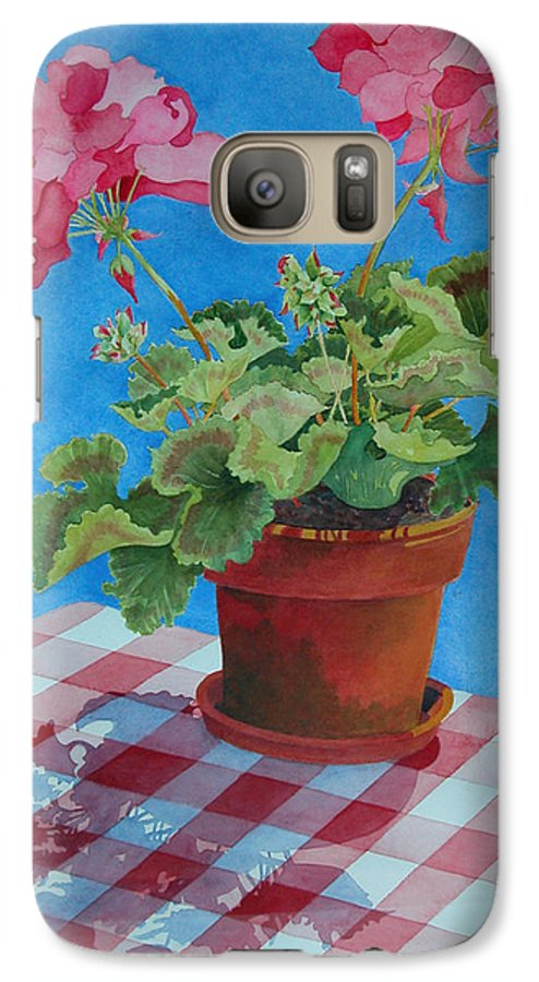 Floral. Duvet Galaxy S7 Case featuring the painting Afternoon Shadows by Mary Ellen Mueller Legault