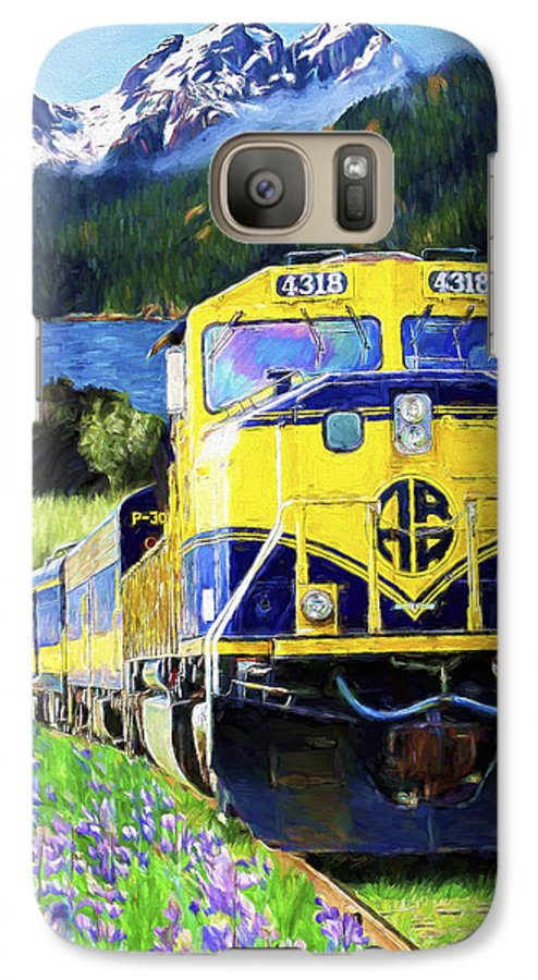 Railroad Galaxy S7 Case featuring the painting Alaska Railroad by David Wagner