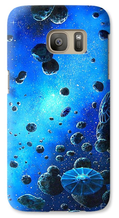 (space Ships) Galaxy S7 Case featuring the painting Alien Flying Saucers by Murphy Elliott