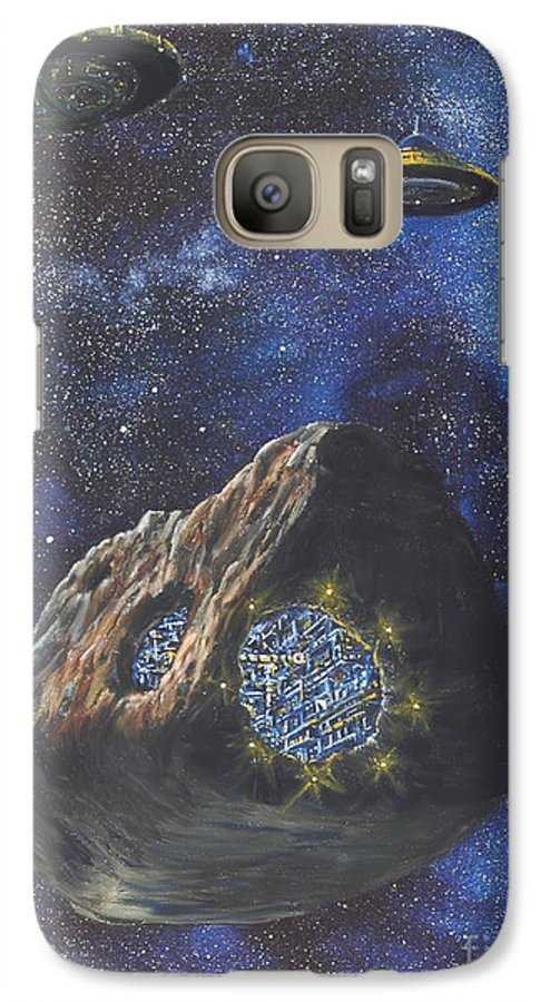Painting Galaxy S7 Case featuring the painting Alien Space Factory by Murphy Elliott