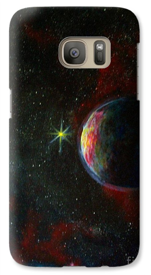 Cosmos Galaxy S7 Case featuring the painting Alien Worlds by Murphy Elliott