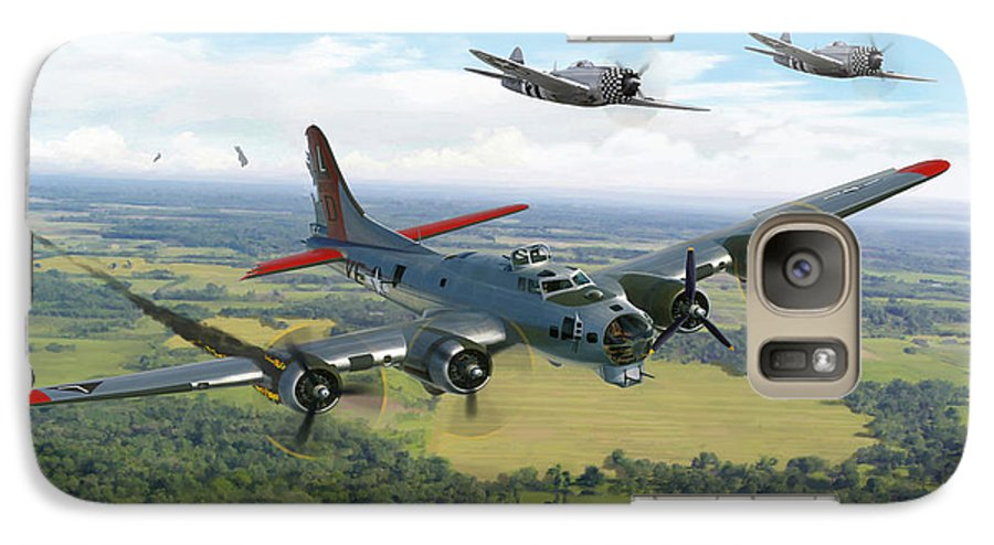 Airplane Galaxy S7 Case featuring the painting Almost Home B-17 Flying Fortress by Mark Karvon