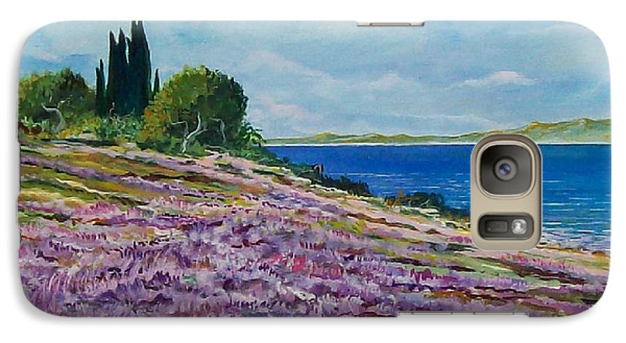 Landscape Galaxy S7 Case featuring the painting Along The Shore by Sinisa Saratlic