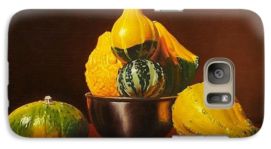 Still Life Galaxy S7 Case featuring the painting An Arrangement Of Gourds by Gary Hernandez