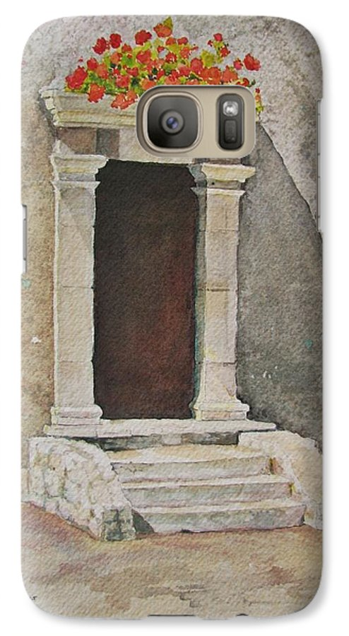 Antique Doorway Galaxy S7 Case featuring the painting Ancient Doorway by Mary Ellen Mueller Legault