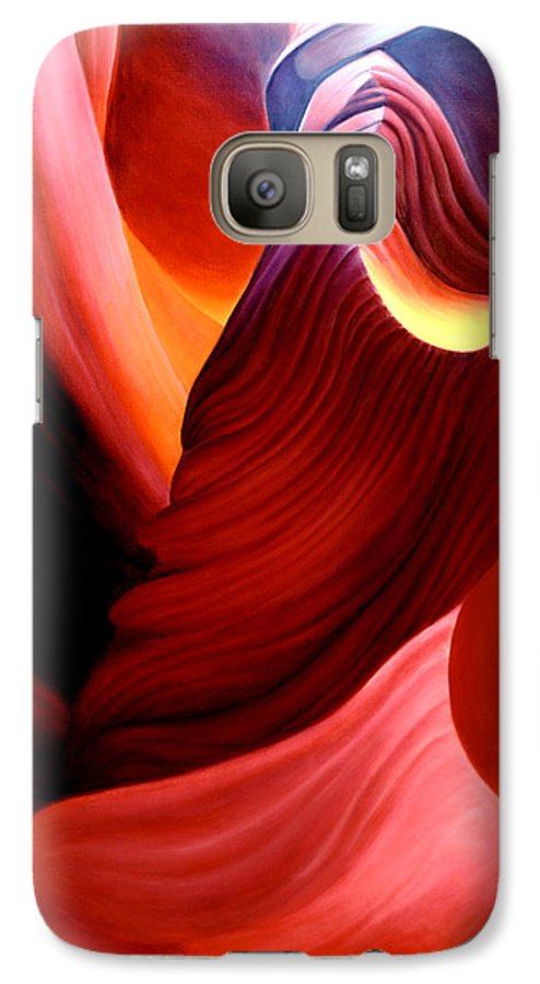 Antelope Canyon Galaxy S7 Case featuring the painting Antelope Magic by Anni Adkins