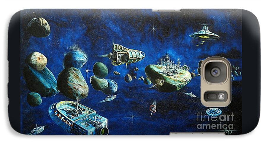 Fantasy Galaxy S7 Case featuring the painting Asteroid City by Murphy Elliott