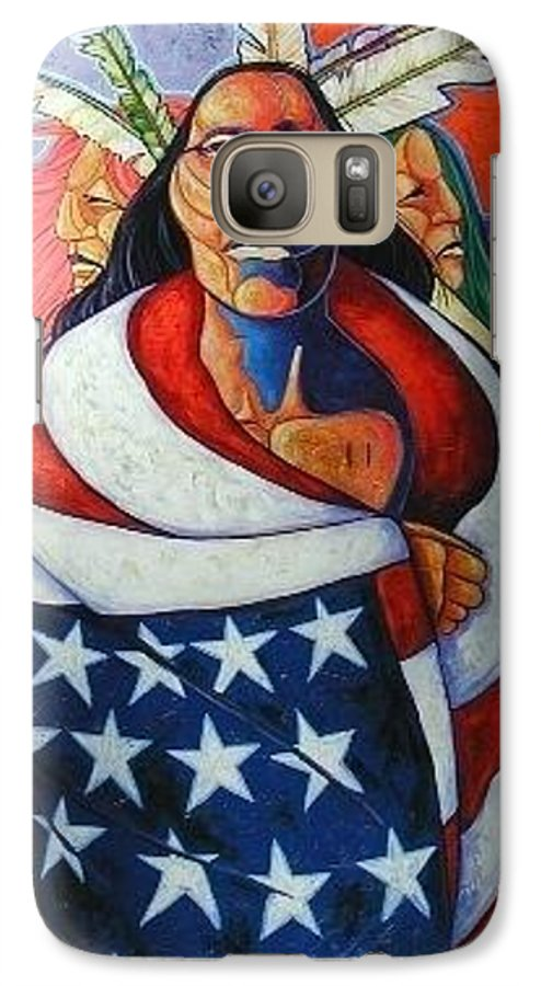 American Indian Galaxy S7 Case featuring the painting At The Crossroads by Joe Triano