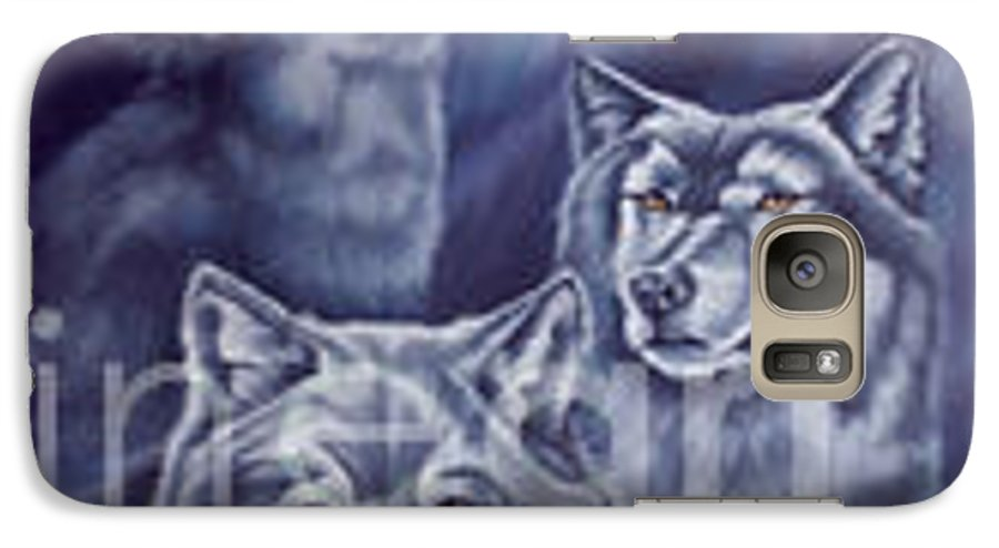 Wolf Galaxy S7 Case featuring the painting Aurora Wolves by Wendy Froshay