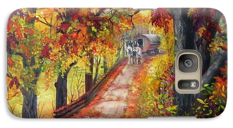 Scenery Galaxy S7 Case featuring the painting Autumn Dreams by Lora Duguay