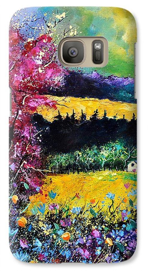 Landscape Galaxy S7 Case featuring the painting Autumn Flowers by Pol Ledent
