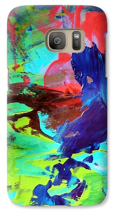 Blue Galaxy S7 Case featuring the painting Baby Seals Are Clubbed To Death In Yearly Canadian Seal Hunt by Bruce Combs - REACH BEYOND