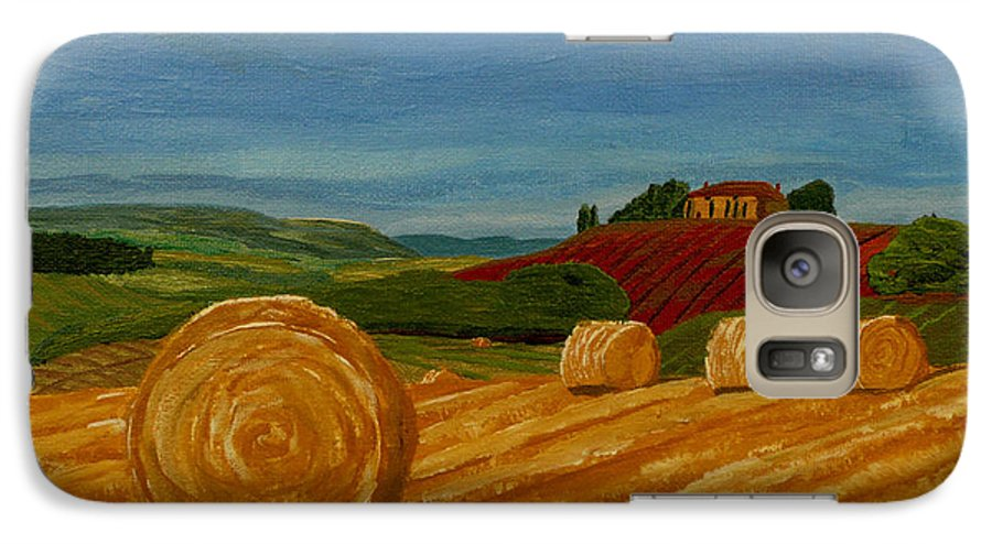 Hay Galaxy S7 Case featuring the painting Field Of Golden Hay by Anthony Dunphy