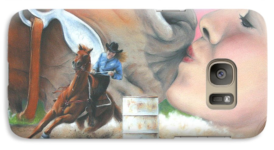 Girl & Horse Galaxy S7 Case featuring the pastel Barrel Race by Karen Elkan