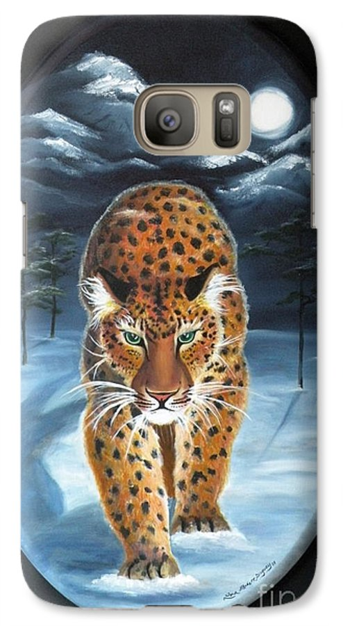 Snow Leopard Galaxy S7 Case featuring the painting Batukhan Snow Leopard by Lora Duguay