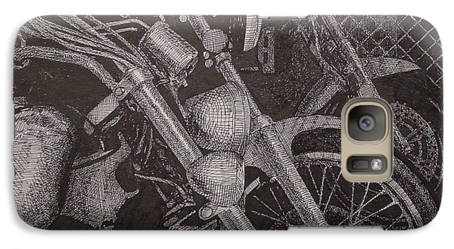 Motorcycles Galaxy S7 Case featuring the drawing Bikes by Denis Gloudeman