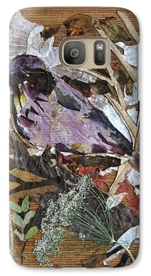 Bird Scrub Joy Galaxy S7 Case featuring the mixed media Bird Scubjoy by Basant Soni