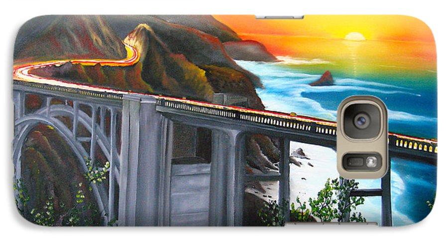 Beautiful California Sunset! Galaxy S7 Case featuring the painting Bixby Coastal Bridge Of California At Sunset by Portland Art Creations
