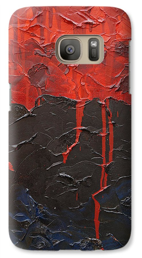 Fantasy Galaxy S7 Case featuring the painting Bleeding Sky by Sergey Bezhinets