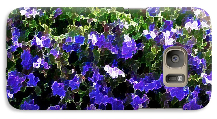 Blue.flowers.green Leaves.happiness.rest.pleasure.mosaic Galaxy S7 Case featuring the digital art Blue Flowers On Sun by Dr Loifer Vladimir