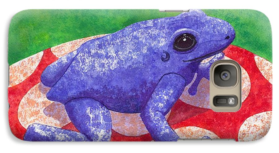 Frog Galaxy S7 Case featuring the painting Blue Frog by Catherine G McElroy