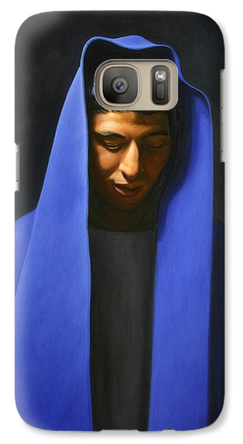 Blue Galaxy S7 Case featuring the painting Blue by Gary Hernandez