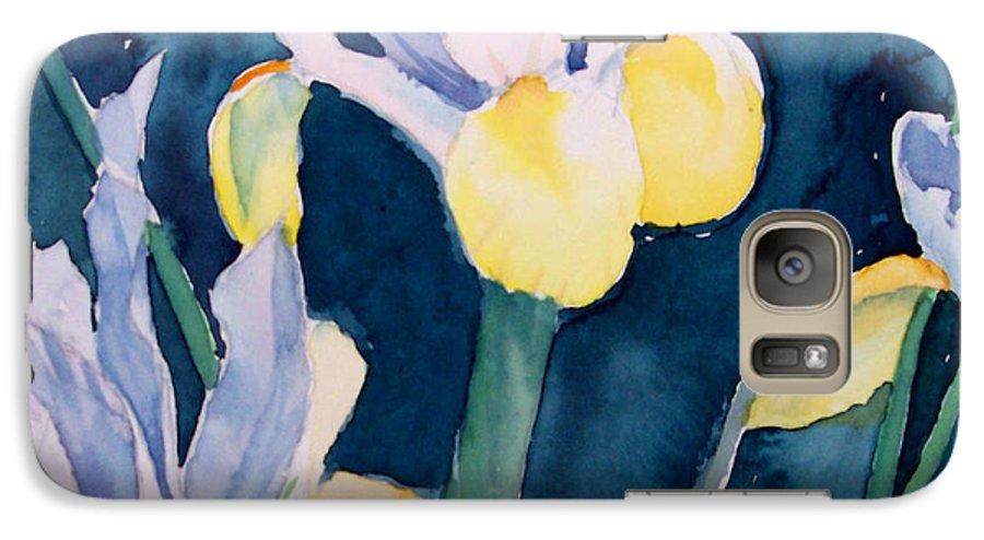 Flowers Galaxy S7 Case featuring the painting Blue Iris by Philip Fleischer