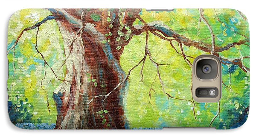 Bluebonnets Galaxy S7 Case featuring the painting Bluebonnets Under The Oak by David G Paul