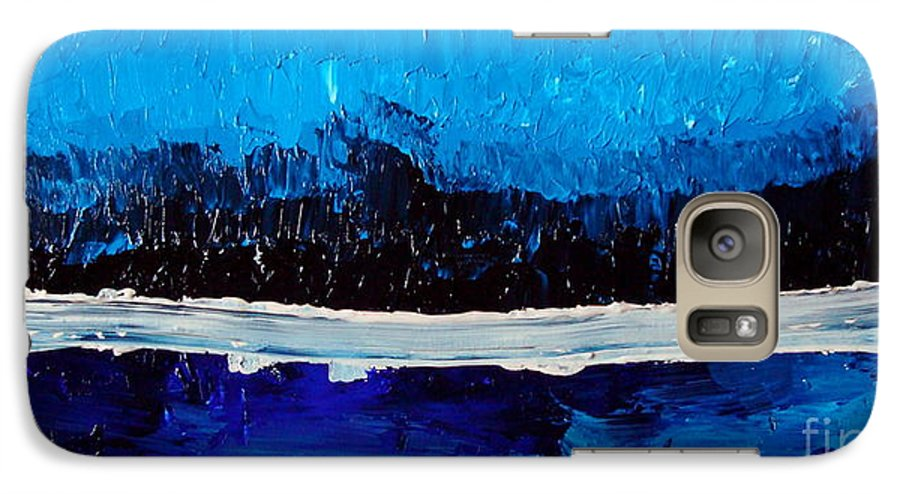 Blue Galaxy S7 Case featuring the painting Blues by Holly Picano