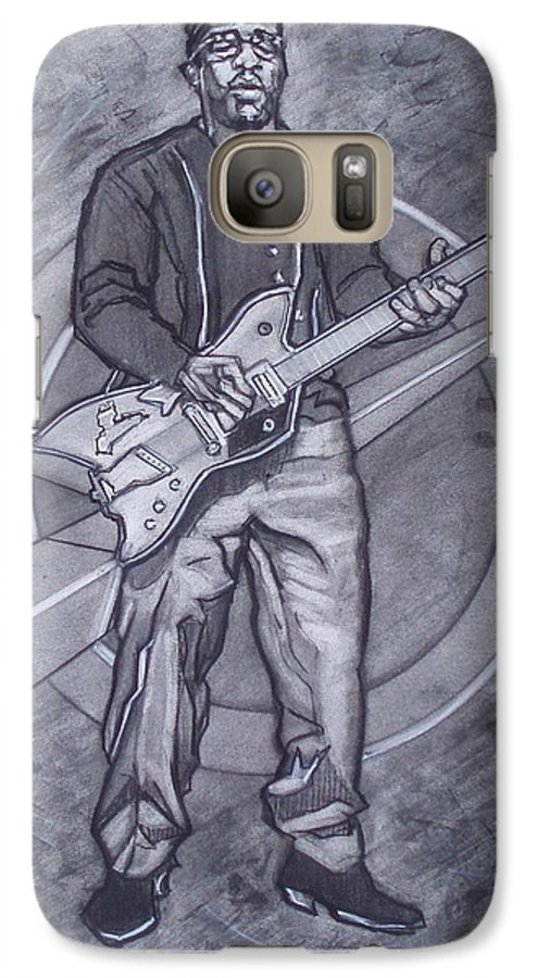 Texas;charcoal;king Of Rock;rock And Roll;music;1950s;blues;musician;funk;electric Guitar;marble;soul Galaxy S7 Case featuring the drawing Bo Diddley - Have Guitar Will Travel by Sean Connolly