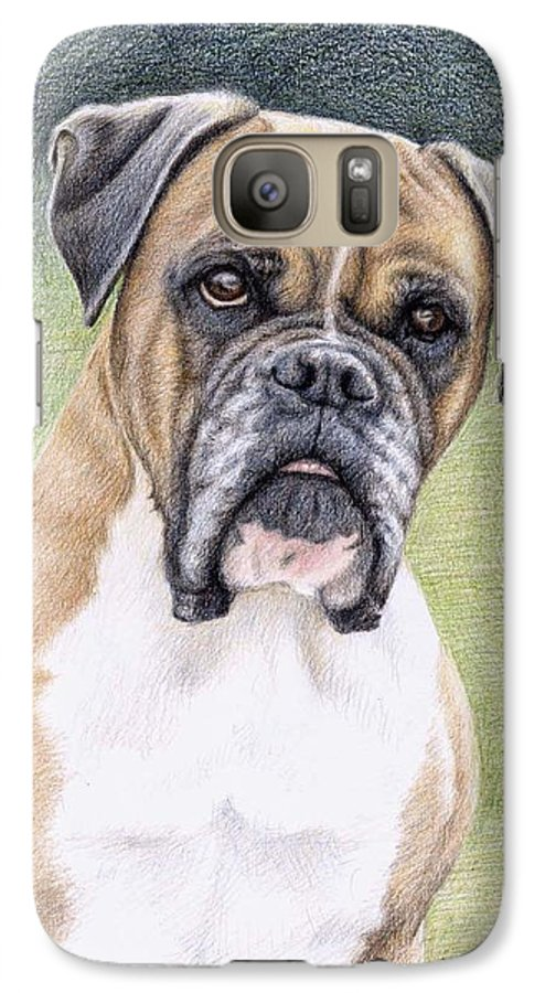 Dog Galaxy S7 Case featuring the drawing Boxer Portrait by Nicole Zeug