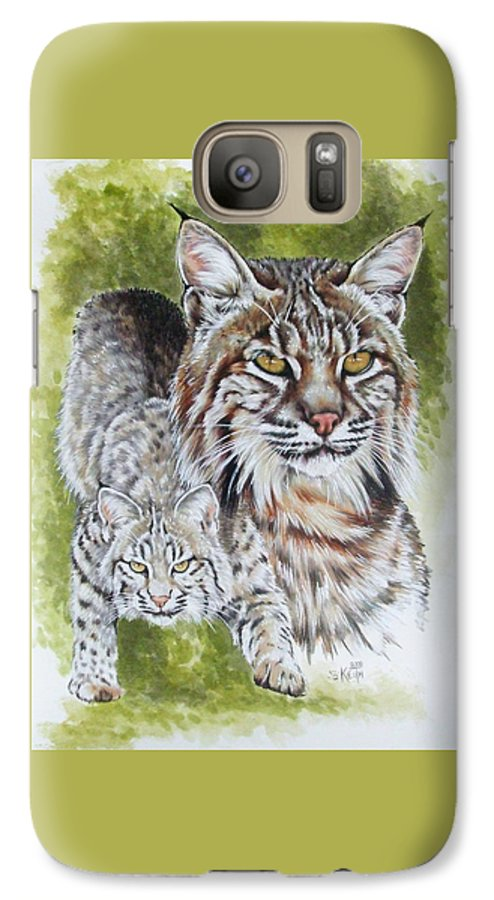 Small Cat Galaxy S7 Case featuring the mixed media Brassy by Barbara Keith
